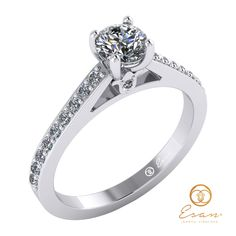 Inel din aur alb cu diamant si diamante incolore ES89