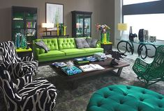 Green, lime green, yellow, black, white and brown - Outdoorsy