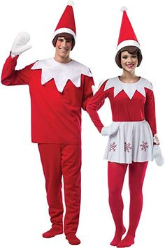 815fc454db41a Amazon.com  Adult Elf on The Shelf Couples Costume - One-Size  Clothing