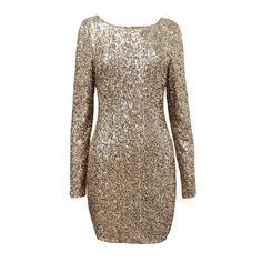 Gold Sequin Backless Dress