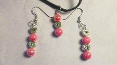 $12.00 Pretty Pink Beads with Hearts Necklace and Earrings
