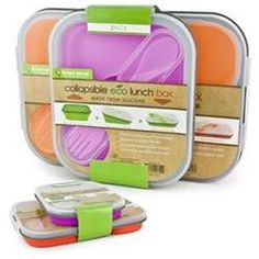 Smart Planet Eco Silicone Collapsible Lunch Box Set. Set includes 1 large with 3 compartements and 1 small with 1 compartment, 1 in pink and 1 in orange. Each silicone lunch box compresses to 1/3 of its size so it is Easy to Carry and Store. Each includes a Two-Sided Spork that Snaps into the Lid.'