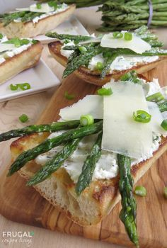 Roasted Asparagus Bruschetta with Goat Cheese on Frugal Coupon Livng. Perfect Bruchetta Recipe to use as an Appetizer or Lunch!