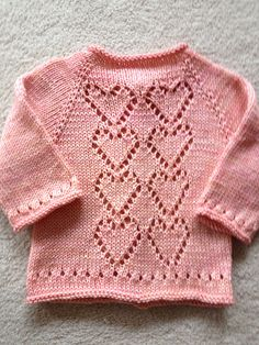 Best 12 Ravelry: yarnloverleslie's Pink Hearts Baby Sweater Knitting Pattern, Cardigan Pattern, Baby Cardigan, Knitted Poncho, Baby Knitting Patterns, Baby Patterns, Girls Sweaters, Baby Sweaters, Baby Couture