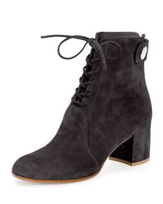 Love the chunky heels! Suede Lace-Up Ankle Boot, Dark Gray by Gianvito Rossi at Neiman Marcus.