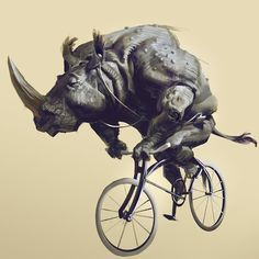 Rhinos are cool and bikes are cool wanted to draw this to support bikes in my city (São Paulo) Por mais, e nao menos, ciclo faixas em sao paulo (: #bike #rhino #sketch #sp #bicycle