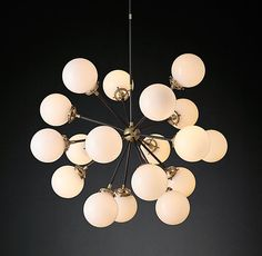 "Bistro Globe Milk Glass Burst Chandelier 32"" - RH"