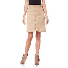 G by Giuliana Ultra Lush Faux Suede Button-Front Skirt