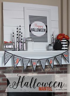 Happy Halloween Mantel | Lots of cute decorations tutorials and FREE PRINTABLES landeelu.com