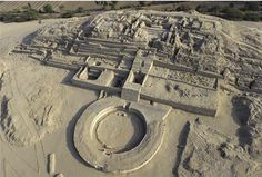 Caral, Peru. Ancient civilization in the Americas, -Norte Chico civilization. The ruins date back over 5,000 years, which means there were cities and life in Peru around the same time as Mesopotamia and Ancient Egypt.