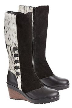 Womens Maria Cowhide Leather GripperSole Boots BLACKNATURAL Size EU41 ** Click image for more details.