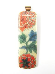 Polymer Clay Pendant  Asian Floral Image by DivaDesignsInc on Etsy, $24.00  https://www.etsy.com/listing/189938071/polymer-clay-pendant-asian-floral-image