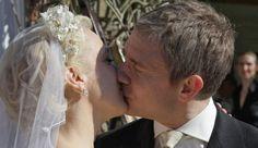 Martin Freeman and Amanda Abbington as John Watson and Mary Morstan in BBC Sherlock Season 3 Episode 2 The Sign of Three