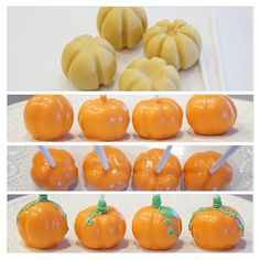 Pumpkin Cake Pops Use lollipop stick to shape the pumpkin Dip into orange melted chocolate Pipe stalk end with green chocolate Pumpkin Shaped Cake, Pumpkin Cake Pops, Pumpkin Cakes, Halloween Cake Pops, Halloween Desserts, Halloween Halloween, Halloween Treats, Halloween Baking, Thanksgiving Cake Pops