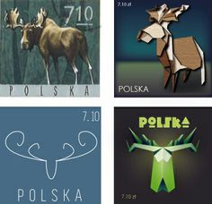 postage stamps -  moose.        1. original 2. realism 3. flat design 4. inspired by origami