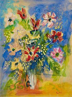 Jean Dufy - Bouquet d'anemones, de tulipes et de mimosa