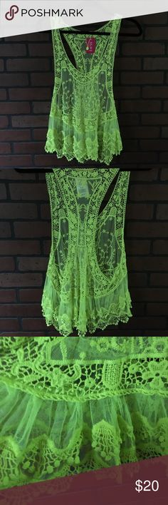 A'GACI top NWT neon yellow racer back lacy top material is 65% cotton 35% polyester A'GACI Tops