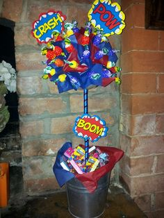 super hero sweet tree Candy Trees, Sweet Like Candy, Sweet Trees, Food Crafts, Birthday Candles, Projects To Try, Bloom, Jar, Halloween
