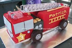 Homemade Fire Truck Cake: I made this Fire Truck Cake for my littlest boy who just turned three!!  1x white chocolate mud cake into an 18cm square tin (7cm deep). 1x vanilla cake