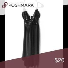 Black high low dress. Only worn once to a wedding! Black sequined top with polyester sheer like bottom. Adjustable straps Dresses High Low