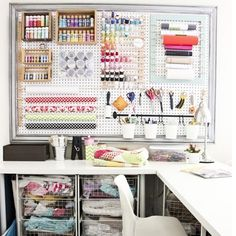 Love the l-shaped desk and framed pegboard!