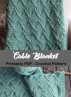 Cable Blanket Crochet Patterns – Update Your Home - A More Crafty Life Crochet Cable, Manta Crochet, Crochet Home, Crochet Crafts, Crochet Projects, Afghan Crochet Patterns, Crochet Stitches, Knitting Patterns, Crocheting Patterns