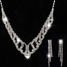 Factory price 2016 Wedding Bridal Wedding Silver Plated Crystal Rhinestone Necklace Earrings Jewelry Set for women #N199