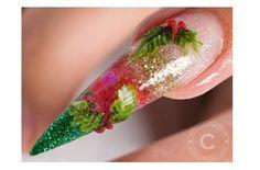 Christmas Holly 3D Nail Art   NSI Attraction Acrylic Tutorial