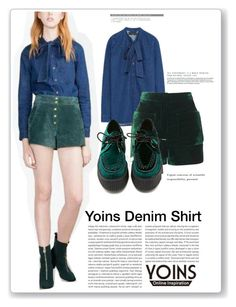 """""""Yoins Denim Shirt: Contest Entry"""" by themisssantiago ❤ liked on Polyvore featuring Topshop and T.U.K."""