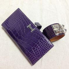 Amethyst croc set, CDC and Bearn wallet. Hermes Wallet, Hermes Bags, Crocs, Amethyst, Cufflinks, Favorite Things, Toe, Handbags, Lady