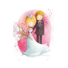 Carte de souhaits Ketto - Mariés coeurs/ Ketto's greeting card - Wedding hearts |