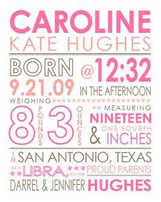 CUSTOM birth stats baby girl or boy typography by JenHughesDesigns, $21.50