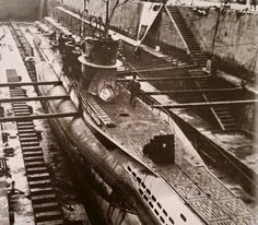 A German U boat type VIIc, U 596, in 1942 when the repairs in a dry dock. The bow gun is dismantled.