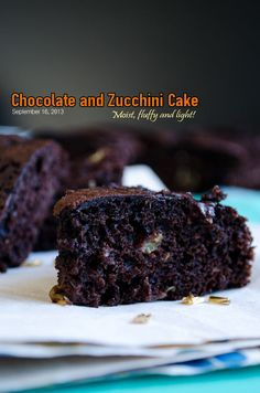 This is a very innocent moist and fluffy chocolate zucchini cake since it contains zucchini, olive oil and whole wheat flour.