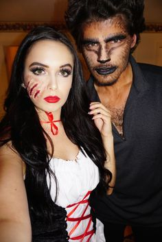 Scary Couples Halloween Costumes, Homemade Halloween Costumes, Diy Halloween Costumes, Adult Halloween, Halloween Makeup, Red Riding Hood Makeup, Red Riding Hood Wolf, Red Riding Hood Costume, Maquillage Halloween