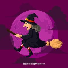 Purple witch background with broom Free Vector
