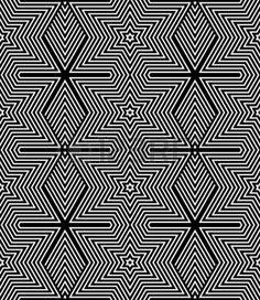 Seamless geometric texture  Op art design  Striped diamonds and stars pattern  Vector art  photo