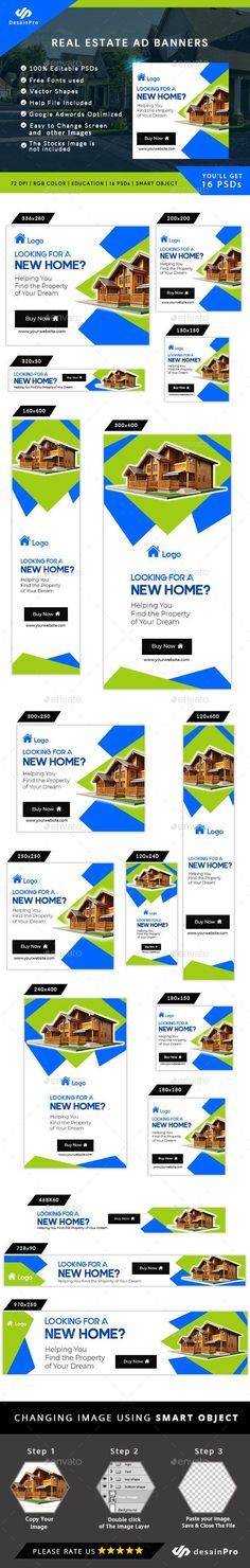 Fully editable and vector shape so it can be easily change its text, color & shape. A set of 16 Web Ad Banners for Real Estate, House Selling Business or Promotion Banner Templates. Social Media Poster, Real Estate Ads, Instagram Banner, Web Design, Graphic Design, Information Graphics, Vector Shapes, Banner Template