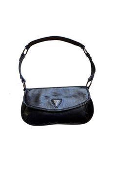 Vintage Guess Shoulder Bag, Vintage Black Guess Purse, Small Guess Evening bag, black Leather purse, 1990's Guess handbag, 90's Guess purse