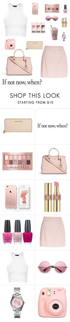 """Peach"" by gimcdonnell ❤ liked on Polyvore featuring Michael Kors, Maybelline, Yves Saint Laurent, OPI, River Island, Topshop and Polaroid"
