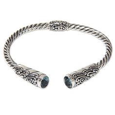 NOVICA Blue Topaz .925 Sterling Silver Cuff Bracelet 'Beacon of Light' *** Be sure to check out this awesome product.