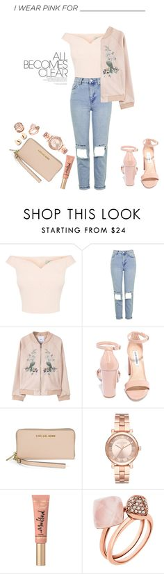 """Untitled #44"" by ldennett ❤ liked on Polyvore featuring Topshop, MANGO, Steve Madden, Michael Kors, Too Faced Cosmetics and IWearPinkFor"