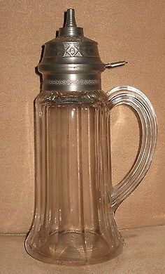 19th CENTURY VICTORIAN PRESSED / BLOWN GLASS VICTORIA SYRUP PITCHER PATENTED JULY 16, 1872.