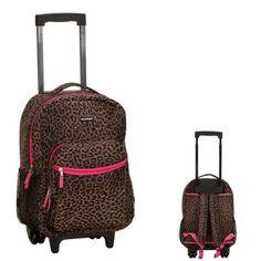 Rolling School Backpack Girls Wheeled Telescope Fashion Leopard Print Teen Bag…
