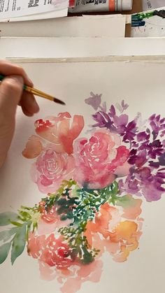 Watercolor Roses Painting Flowers