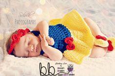 Snow White 3 piece set Newborn to 12 month by BeccasBeanies