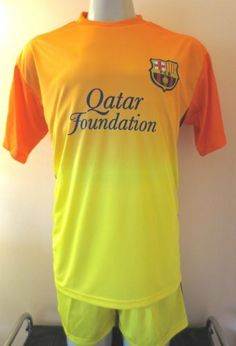 "BARCELONA AWAY SOCCER UNIFORM JERSEY & SHORT SIZE ADULT MEDIUM .NEW by ALLSOCCER. $31.95. ADULT MEDIUM. JERSEY & SHORT UNIFORM. NEW. GREAT QUALITY. SOCCER. BARCELONA AWAY  TEAM SOCCER UNIFORM.  JERSEY/SHORT  YOU MUST ADD THIS ONE TO YOUR COLLECTION !!!! FOR ADULTS (SIZE MEDIUM)  SIZE USA ADULT MEDIUM. JERSEY IS 21""ARMPIT TO ARMPIT BY 27"" FROM NECK TO BOTTOM. SHORTS SIZE  ADULT MEDIUM.   THE BARCELONA SOCCER SET (JERSEY & SHORTS) IS MADE OF DURABLE, BREATHABLE POLYESTER,..."