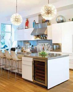 cozinha americana gourmet adega ilha bancada aço inox