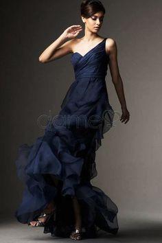 Eine Schulter A Linie Rüschen Birne natürliche Taille glamouröses & dramatisches zierliches Ballkleid
