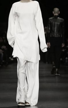White with blue stripe linen 2 pieces Ann Demeulemeester FW14